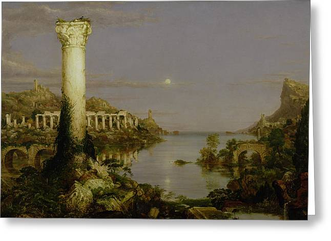Twilight Greeting Cards - The Course of Empire - Desolation Greeting Card by Thomas Cole