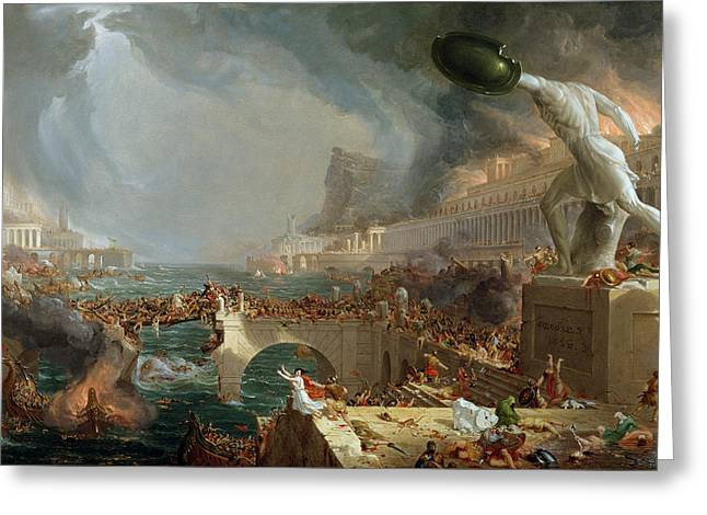 Bloodshed Greeting Cards - The Course of Empire - Destruction Greeting Card by Thomas Cole
