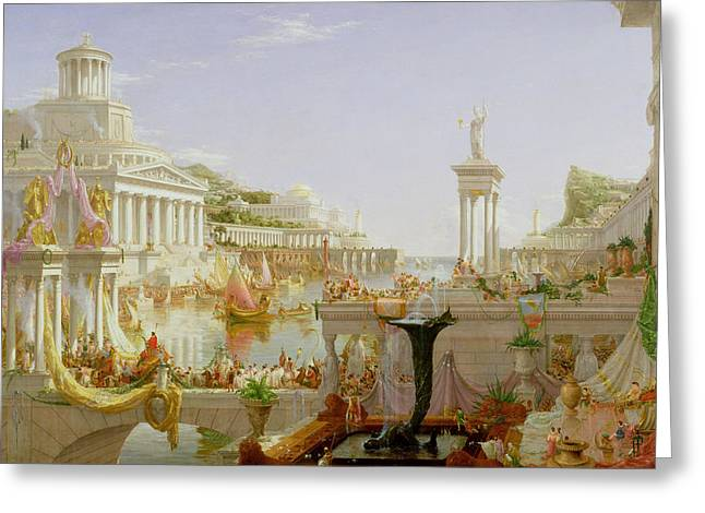 Fountain Greeting Cards - The Course of Empire - The Consummation of the Empire Greeting Card by Thomas Cole
