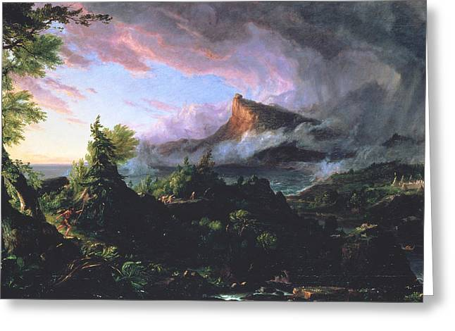 Cole Paintings Greeting Cards - The Course of Empire - The Savage State Greeting Card by Thomas Cole