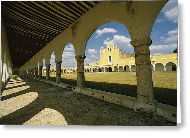 The Courtyard Of The Great Monastery Greeting Card by Martin Gray