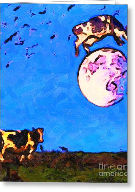 Nursery Rhyme Greeting Cards - The Cow Jumped Over The Moon . Painterly Greeting Card by Wingsdomain Art and Photography