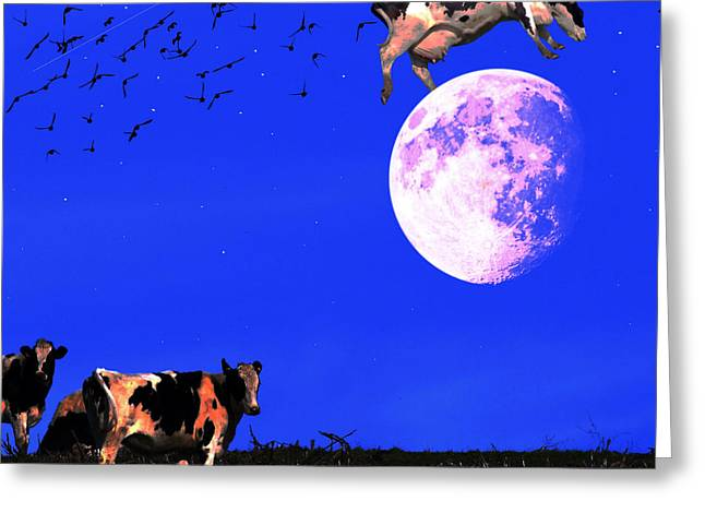 Humourous Greeting Cards - The Cow Jumped Over The Moon . Square Greeting Card by Wingsdomain Art and Photography
