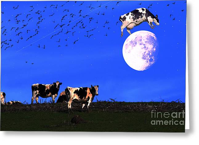 Humourous Greeting Cards - The Cow Jumped Over The Moon Greeting Card by Wingsdomain Art and Photography