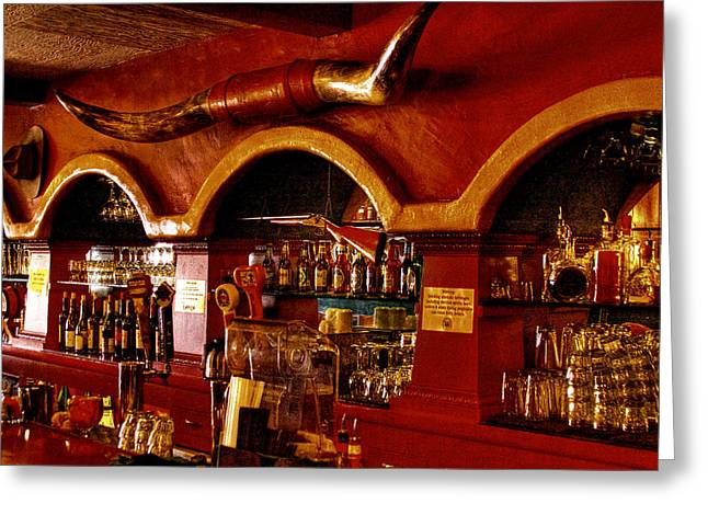 Steer Greeting Cards - The Cowboy Club Bar in Sedona Arizona Greeting Card by David Patterson