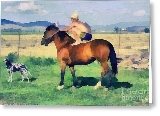 Recently Sold -  - Gold Lame Greeting Cards - The cowboy Greeting Card by Odon Czintos