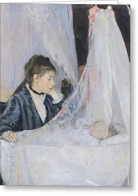 Baby Sister Greeting Cards - The Cradle Greeting Card by Berthe Morisot