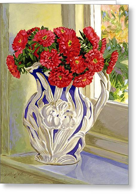 Floral Still Life Greeting Cards - The Cream Pitcher Greeting Card by David Lloyd Glover