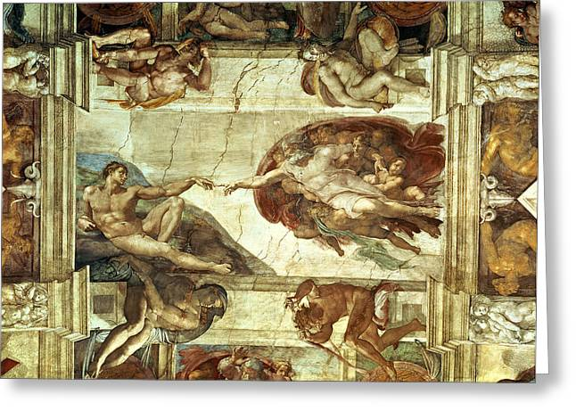 Michelangelo Greeting Cards - The Creation of Adam Greeting Card by Michelangelo