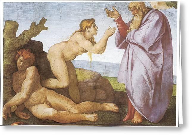 Buonarroti Paintings Greeting Cards - The Creation of Eve Greeting Card by Michelangelo Buonarroti