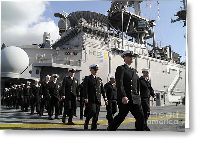 Uss Essex Greeting Cards - The Crew Of Uss Essex Marches Greeting Card by Stocktrek Images
