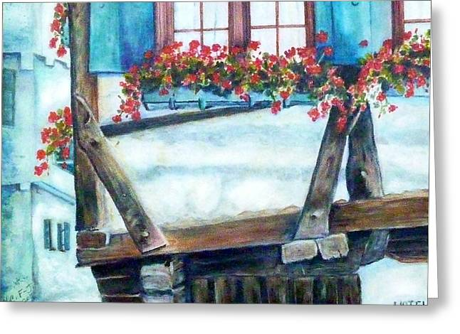 Haus Paintings Greeting Cards - The Crooked House in Ulm Greeting Card by Mary C Farrenkopf