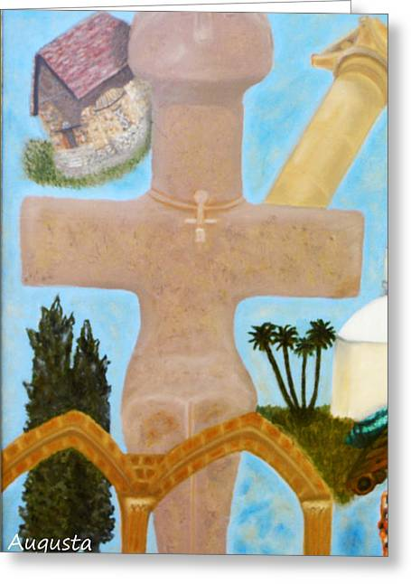 Byzantine Greeting Cards - The Cross-like Idol of Pomos Greeting Card by Augusta Stylianou