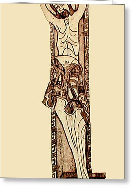Religious Mixed Media Greeting Cards - The Cross Unadorned Greeting Card by Catherine ONeil