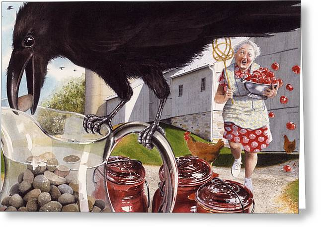Fabled Greeting Cards - The Crow and the Pitcher Greeting Card by Denny Bond