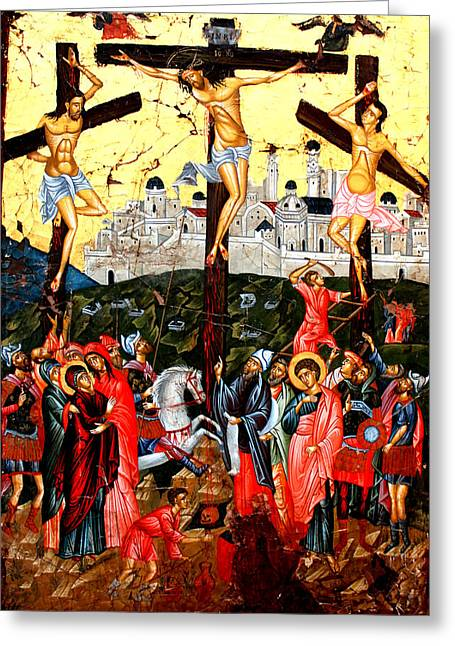 Egg Tempera Paintings Greeting Cards - The Crucifixion Greeting Card by Artur Sula