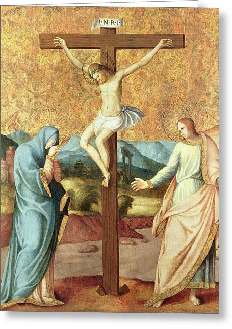 Passion Greeting Cards - The Crucifixion with the Virgin and St John the Evangelist Greeting Card by French School