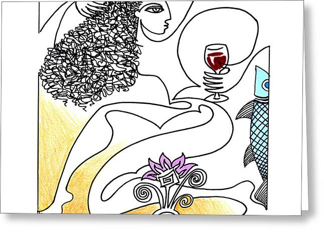 Pinot Drawings Greeting Cards - The Crush Greeting Card by Roy Guzman