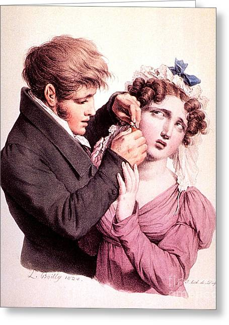 Boilly Greeting Cards - The Culture Of Beauty, Ear Piercing Greeting Card by Science Source