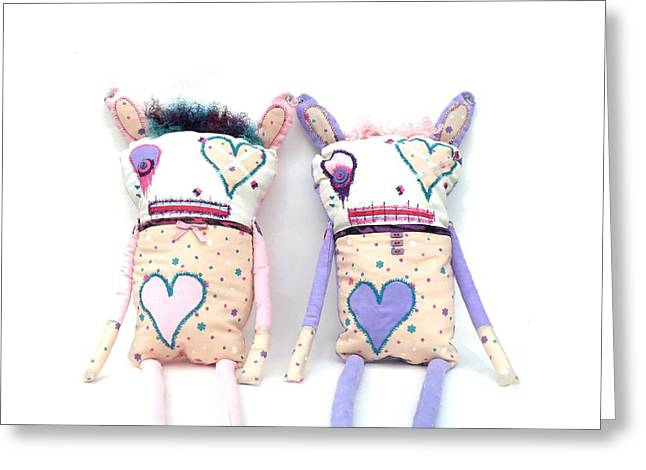Doll Sculptures Greeting Cards - The Cutie Patootie Zombie Bunny Twins Greeting Card by Oddball Art Co by Lizzy Love