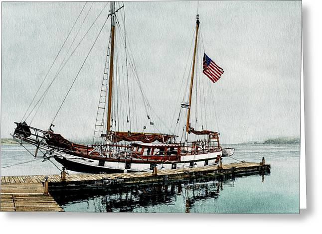 The Cutty Sark in Penn Cove Fog Greeting Card by Perry Woodfin