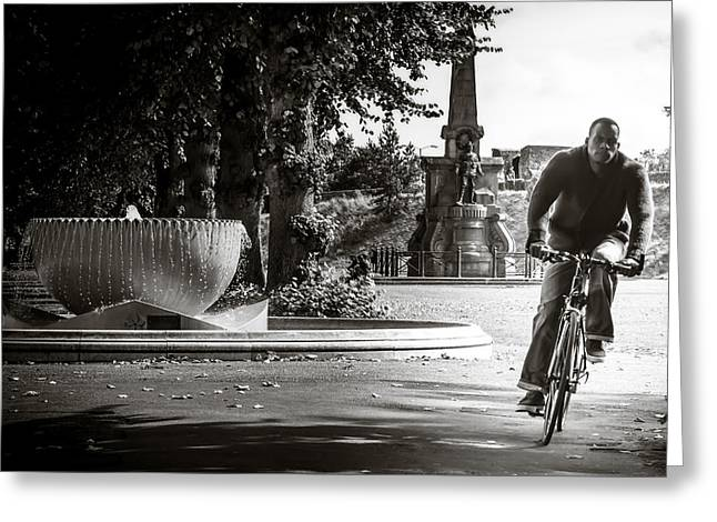 Fountain Photograph Greeting Cards - The Cyclist Greeting Card by Ian Hufton