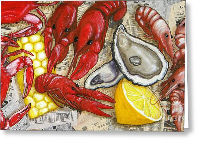 Mississippi Gulf Coast Greeting Cards - The Daily Seafood Greeting Card by JoAnn Wheeler