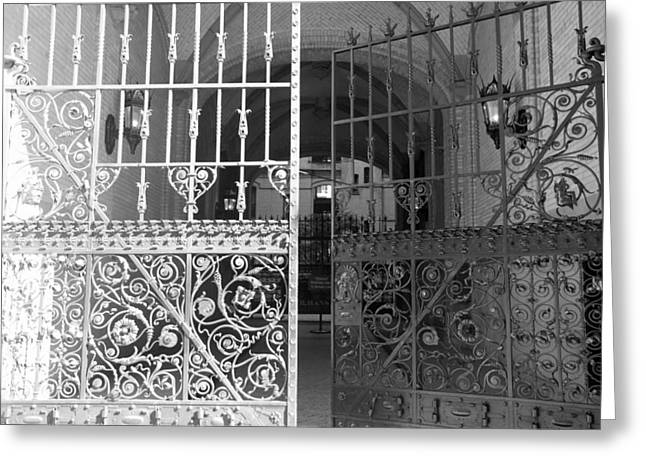 New Greeting Cards - THE DAKOTA GATES in BLACK AND WHITE Greeting Card by Rob Hans
