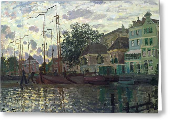 Docked Sailboats Greeting Cards - The Dam at Zaandam Greeting Card by Claude Monet