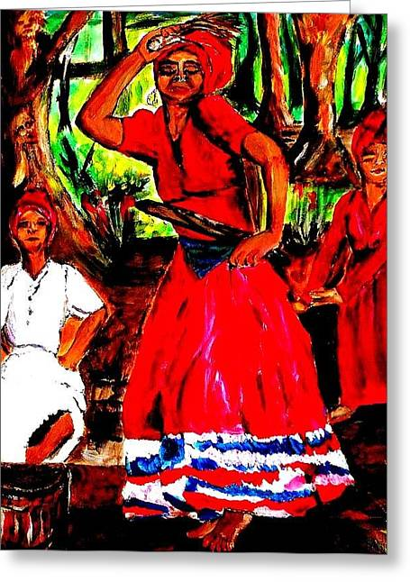 Shango Greeting Cards - The Dance Greeting Card by Bernadette Charles