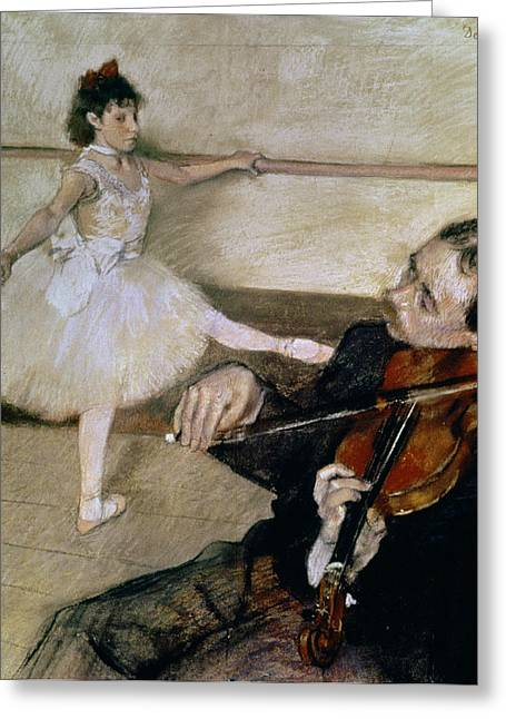 Dancing Girl Pastels Greeting Cards - The Dance Lesson Greeting Card by Edgar Degas