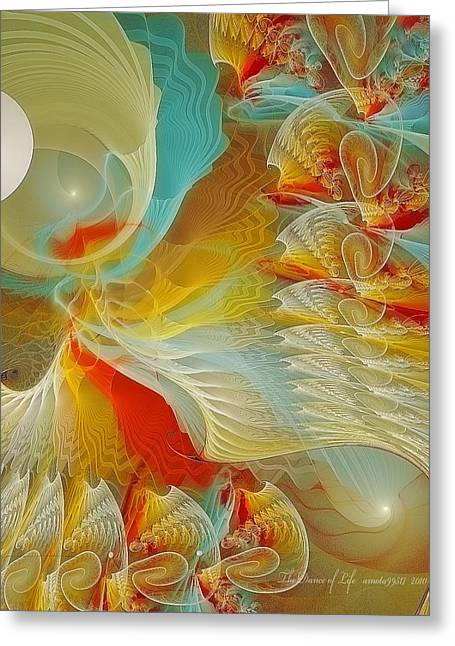Fractal Art Pastels Greeting Cards - The Dance of Life Greeting Card by Gayle Odsather