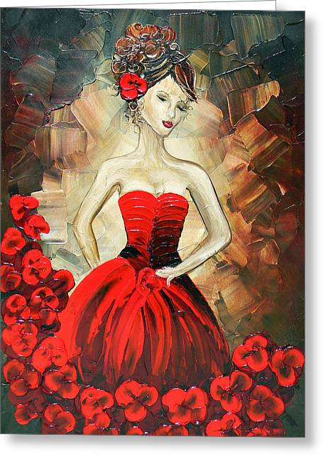 Artist Christine Krainock Greeting Cards - The Dancer in the Red Dress Greeting Card by Christine Krainock