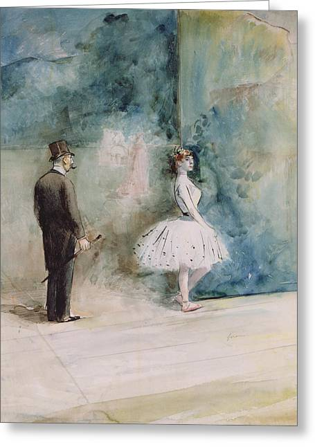 Ballet Dancers Drawings Greeting Cards - The Dancer Greeting Card by Jean Louis Forain