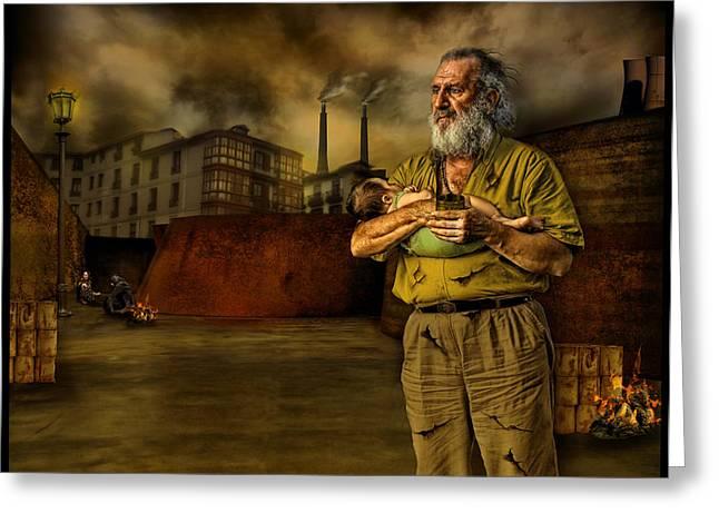 Homeless Man Greeting Cards - The Dark Citys Homeless Greeting Card by Raul Villalba
