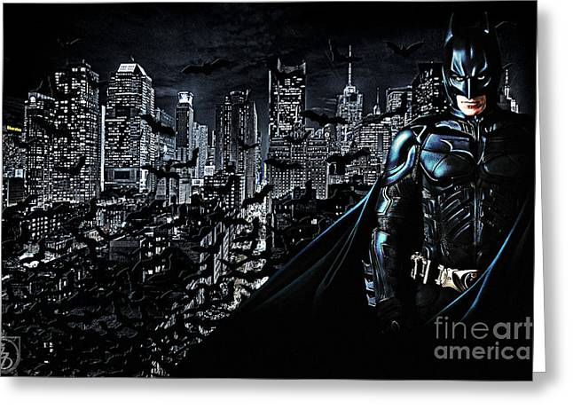 Knighting Mixed Media Greeting Cards - The Dark Knight Greeting Card by The DigArtisT