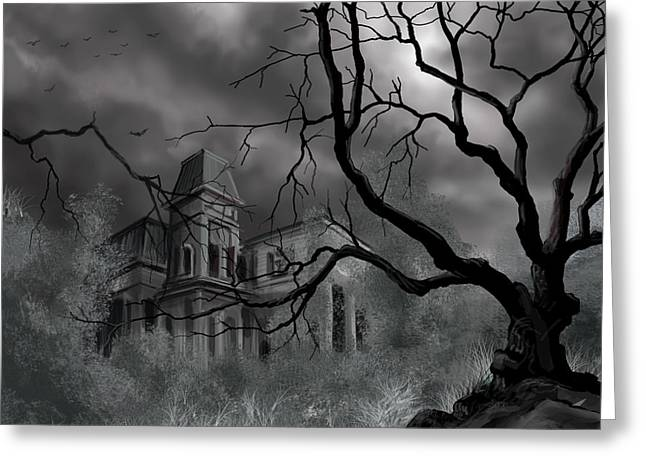 Gothic Mansion Greeting Cards - The Dark Mansion Greeting Card by James Christopher Hill