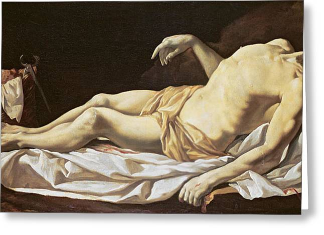 Hammer Paintings Greeting Cards - The Dead Christ Greeting Card by Charles Le Brun
