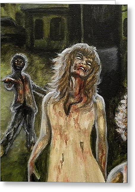 Living Dead Greeting Cards - The Dead Invade Emerald City 2 Greeting Card by Al  Molina