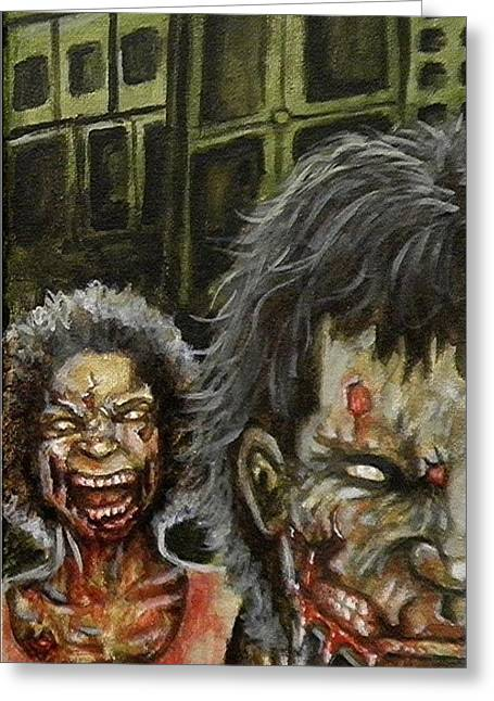 Living Dead Greeting Cards - The Dead Invade Emerald City 3 Greeting Card by Al  Molina