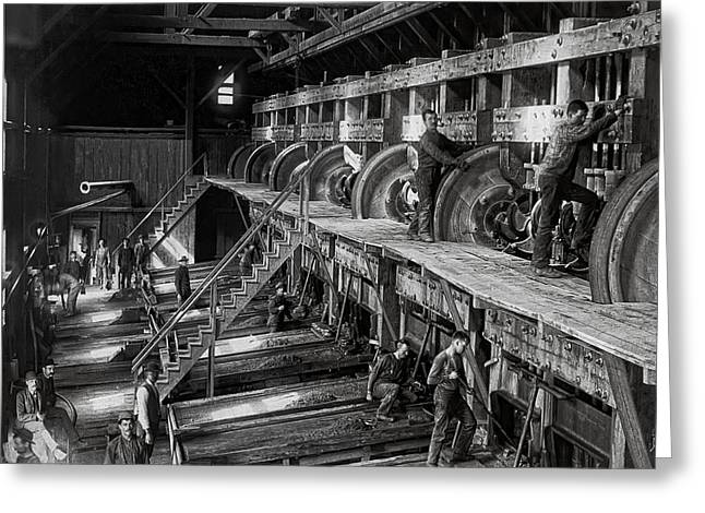 Manufacturing Greeting Cards - The DEADWOOD TERRA GOLD ORE STAMP MILL c. 1888 Greeting Card by Daniel Hagerman