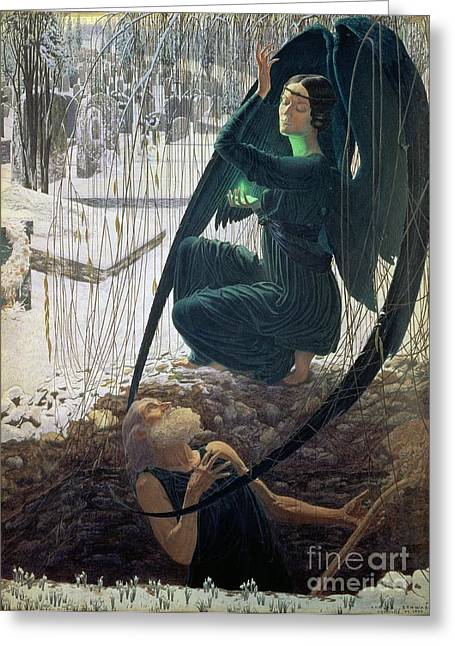 Grave Stone Greeting Cards - The Death and the Gravedigger Greeting Card by Carlos Schwabe