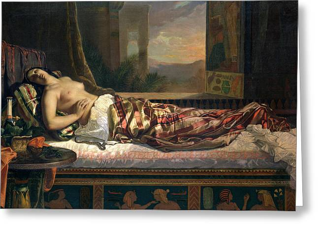 Open Window Paintings Greeting Cards - The Death of Cleopatra Greeting Card by German von Bohn