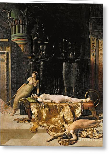 Pyramid Paintings Greeting Cards - The Death of Cleopatra  Greeting Card by John Collier