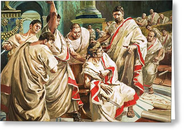 Stab Greeting Cards - The death of Julius Caesar  Greeting Card by C L Doughty