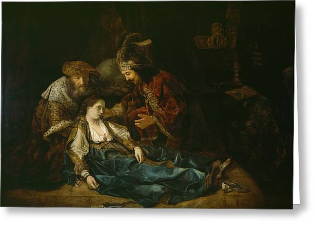 The Death Of Lucretia - Mid 1640s  Greeting Card by Harmensz van Rijn Rembrandt