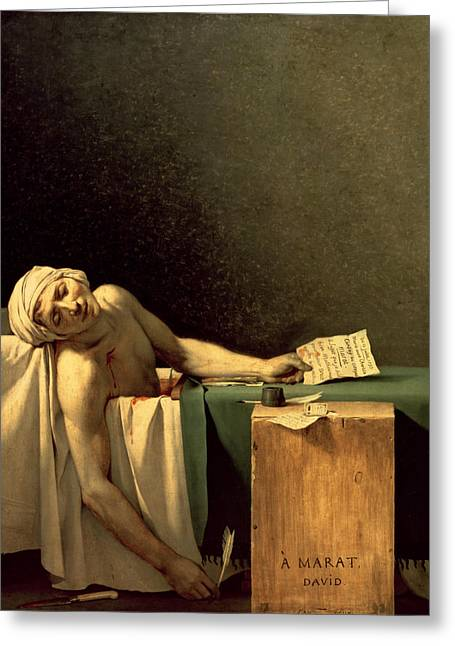 Charlotte Paintings Greeting Cards - The Death of Marat Greeting Card by Jacques Louis David