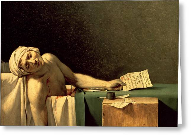 The Death of Marat Greeting Card by Jacques Louis David