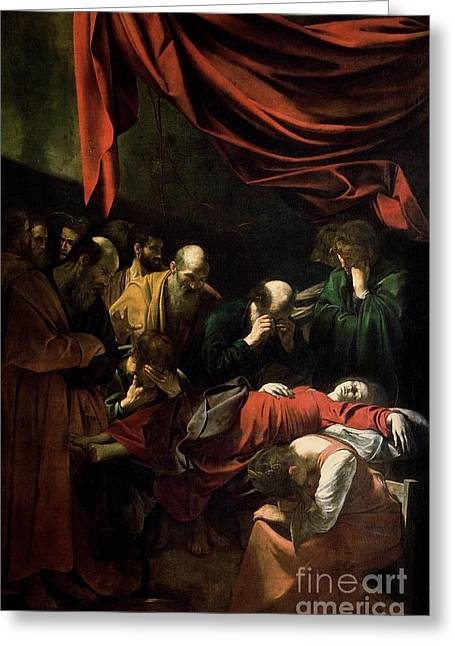Ave-maria Greeting Cards - The Death of the Virgin Greeting Card by Caravaggio