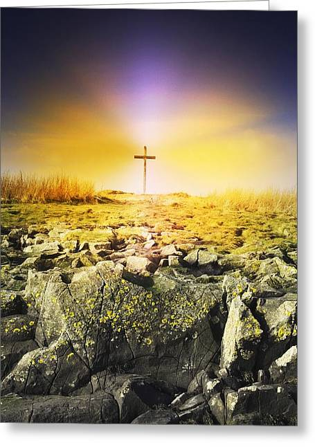 Belief Systems Greeting Cards - The Death Spot Of St. Cuthbert On Holy Greeting Card by John Short
